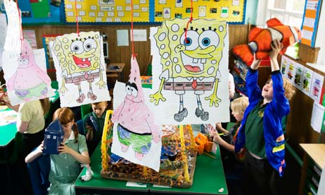 Children at St Mary's primary in Leith are surrounded by artefacts relating to SpongeBob